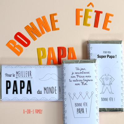 Cadeau fête des pères : une jolie tablette de chocolat décorée