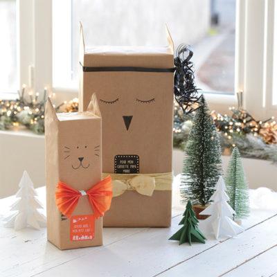 Paquets cadeaux originaux : DIY des animaux sous le sapin !